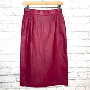 Vintage 80's Raspberry Leather Midi Skirt